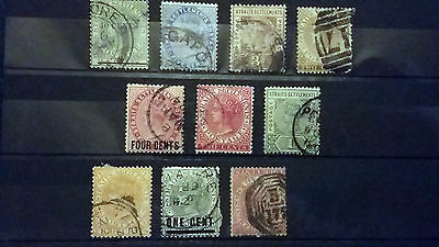 Malaya - STRAITS SETTLEMENTS - Collection of Used Queen Victoria Definitives