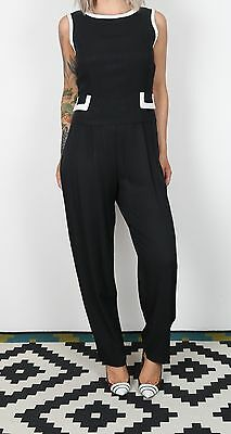 Jumpsuit UK 8-10 XS Small approx. 1980's Plain 80's All in one Monochrome  (8CC)