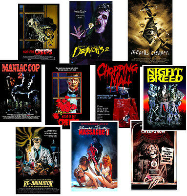Retro B Movie Cult Horror posters Night of Creeps Night Breed Creepshow Jeepers