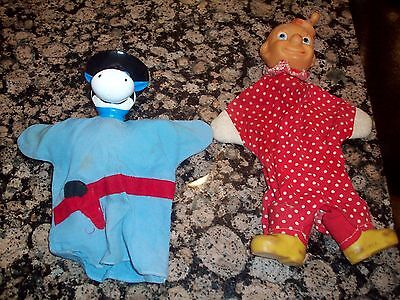 Two Vintage Hand Puppets-Quick Draw Mcgraw And Clown