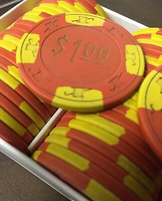 100 $1 LUCKY DERBY Casino Chips PAULSON Clay TOP HAT & CANE