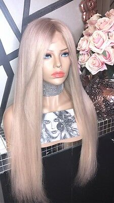 """Ladylux Custom Coloured Platinum Blonde 26"""" Long Full Lace Remy Human Hair Wig"""