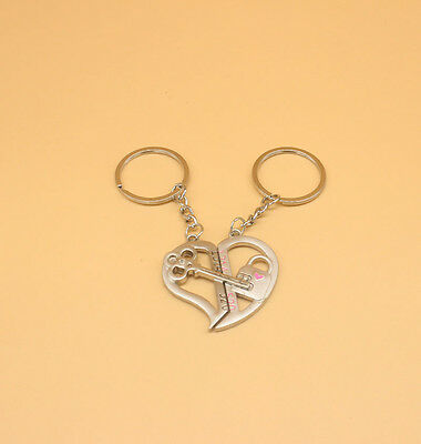 I Love You Cupid Heart Couples Keyrings Puzzle Keychain Silver Metal 1pcs