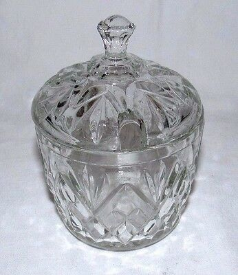 "Anchor Hocking Prescut Clear 5"" Marmalade Covered Dish"