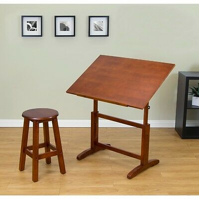 Studio Drafting and Hobby Craft Table with Stool Set Slanted Adjustable Crafts