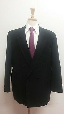 $315 Custom Made Men's Black Pinstripe Suit Size 48R 39x29 Double Breasted