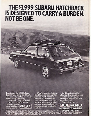 Original Print Ad-1980 THE $3999 SUBARU HATCHBACK IS DESIGNED TO CARRY A BURDEN