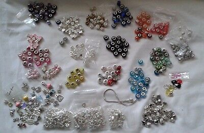 Joblot of european Bracelet charm beads Spacers Bails Charms Bundle
