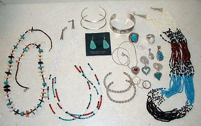 Vintage Lot Native American Jewelry Turquoise Sterling Bracelets Rings Necklaces