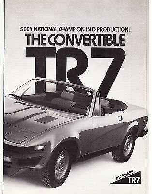 Original Print Ad-1980 SCCA NATIONAL CHAMPION IN D PRODUCTION - TR7 CONVERTIBLE
