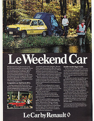 Original Print Ad-1978 Le Weekend Car by RENAULT-Couple Camping on Rivers Edge
