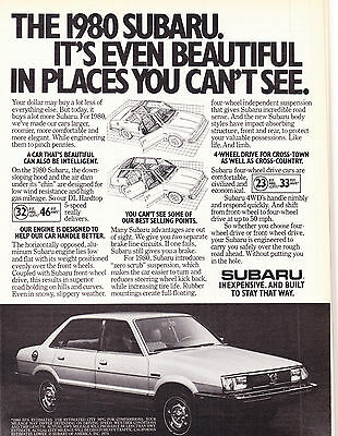 Original Print Ad-1980 SUBARU DL HARDTOP-Even Beautiful In Places You Can't See.
