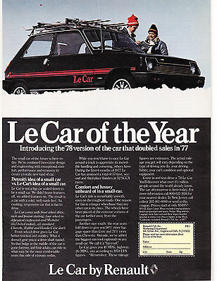 Original Print Ad-1978 Le Car of the Year by RENAULT-Couple Checking Map in Snow