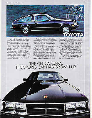 Original Print Ad-1980 TOYOTA CELICA SUPRA-THE SPORTS CAR HAS GROWN UP/2.6 Liter