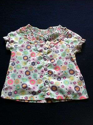 BNWT Marks & Spencers Baby Girls 12-18 Months White Multi Top