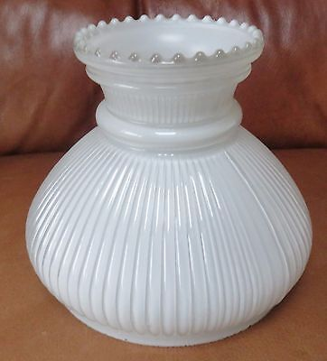 """Small Milk White Glass, Ribbed Patterned Oil Lamp Shade to suit 6"""" fitter dia."""