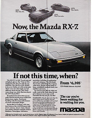 Original Print Ad-1978 Now the MAZDA RX-7-If not this time, when? From $6,395