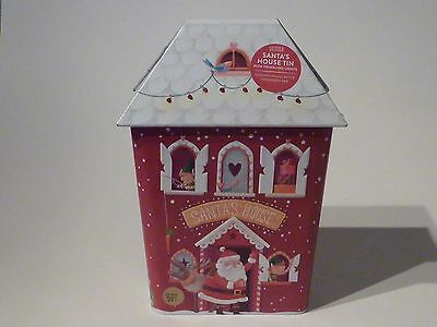 Marks and Spencer novelty bisciut tin - Santas House Tin with twinkling lights