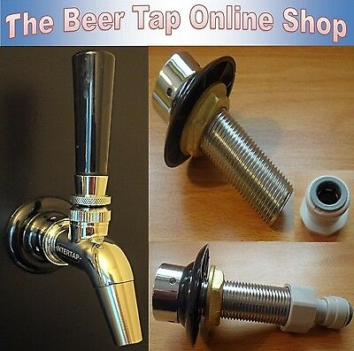 Beer Tap Stainless Steel Intertap Faucet & Shank Kegerator - Home Bar - Man Cave