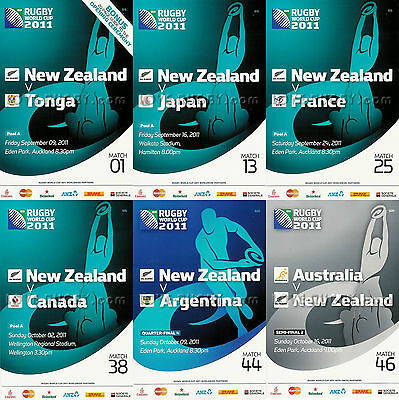 RWC 2011 NEW ZEALAND  6 x Rugby Programmes (Rugby World Cup) excl Final AB a