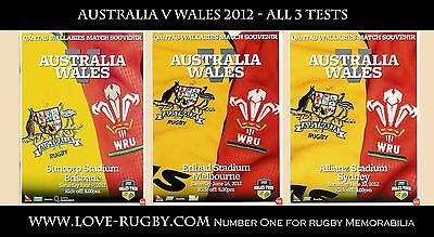 2012 - Australia v Wales 2012 - ALL 3 Tests x 3 rugby prgrammes (not tickets) a