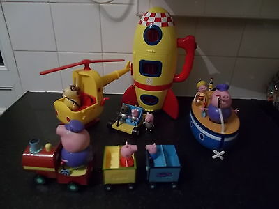 Peppa Pig Bundle Rocket & Moon Car,helicopter,train,boat + Figures