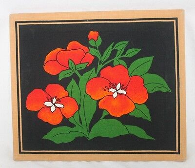 Red Poppies Poppy Fabric Wall Picture Hanging Frame Green White Black Background