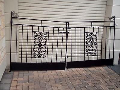 French Style Vintage Black 1960's Heavy Guage Solid Wrought Iron Front Gates