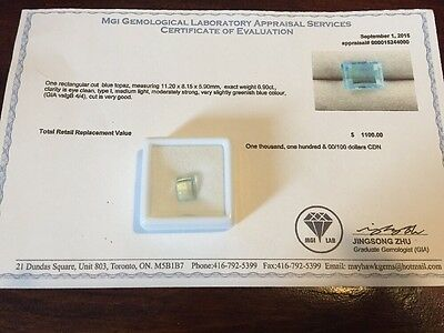 Rectangular Cut Blue Topaz Stone, Retail Value $1100