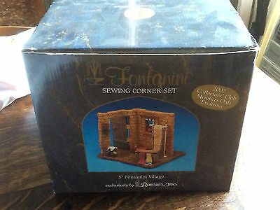 Fontanini Retired Sewing Corner Set 2002 Member's Only Exclusive 65012