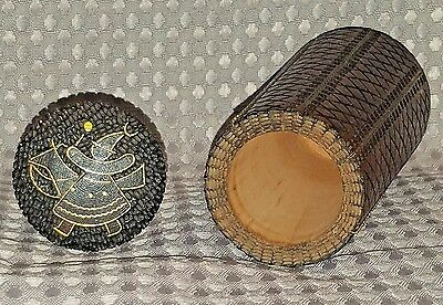 Old Japanese, Asian or Chinese Huanghuali Wood Carved Tea Caddy Spice Jar Bottle