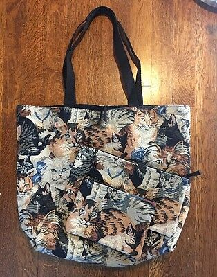 Cat Tote Bag With Cat Cosmetic Bag And Wallet Multicolor Cotton Woven EUC