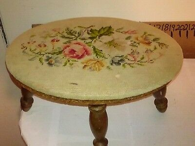 Antique needlepoint stool vintage home made