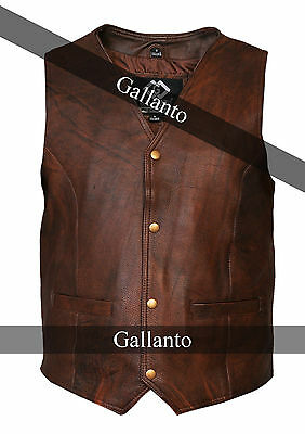 Vintage Brown Classic Mens Motorcycle Leather Waistcoat Vest