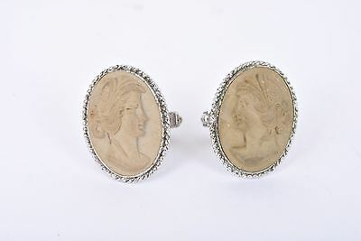 Vintage .925 Sterling Silver Cameo Face Cufflinks (TCM9)