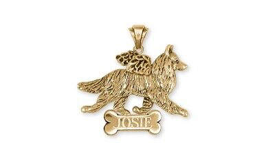 Belgian Tervuren Angel Jewelry 14k Yellow Gold Vermeil Personalized Pendant Belg