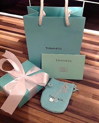 """Tiffany&Co""""Return To Tiffany""""Double Heart Tag Pendant Necklace Blue RRP£115"""