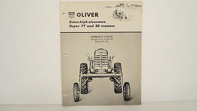 Oliver Tractor brochure on Super77 and 88 High Clearance Tractors from 1956