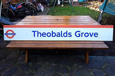 London Overground 7-foot Railway Station Sign from THEOBALDS GROVE