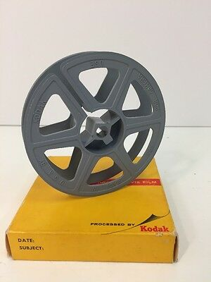 "Vintage Kodak 16mm 3 3/4"" 50ft Plastic Film Reel USA Made Gray In Box"
