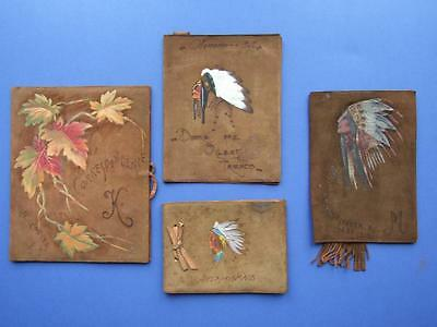 Vintage North American Indian Hand Crafted Deer Skin Book, Autograph Covers Etc