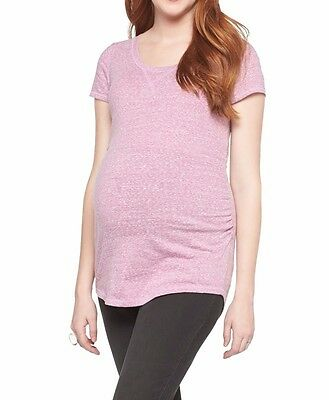 New-SMALL-Liz Lange Maternity TopSpring Brittany Pink Ruched Side Cotton Blend