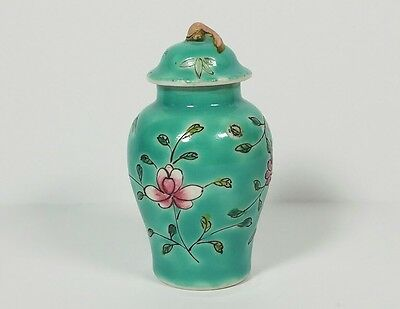 Antique Chinese Export Miniature Cabinet Vase Covered Urn Pot Early CHINA Mark