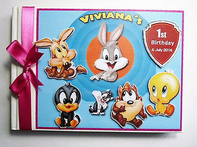 Personalised Loony Tunes Girls/boys /first/1St Birthday Guest Book Any Design