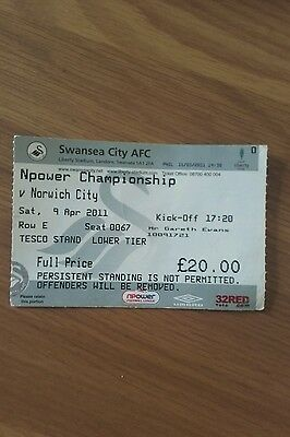 Swansea City V Norwich City Used Ticket 9Th April 2011 Swans & Norwich Promoted