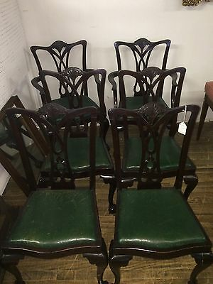Set Of 6 Antique Chippendale Mahogany Dining Room Chairs