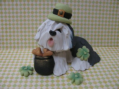 """Handsculpted Old English Sheepdog """"Lucky Dog"""" St. Patrick's Figurine-3 pc."""