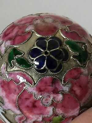 19c Chinese Enamel Cloisonné Egg Sculpture w Stand Morning Doves Motif