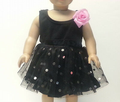 "Justice black party dress Build A Bear BABW pink rose 18"" doll American Girl"
