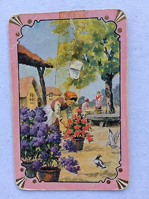 Vintage COLES Swap / Playing Card - Lady With Flowers